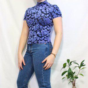 Vintage Pariscope Purple Floral Velvet T-shirt